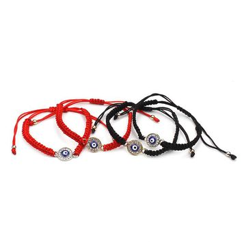 1 piece Black and red adjustable fabric rope charms bracelets string circle crystal blue evil eye charm handmade cheap bracelet