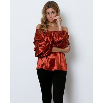 Hint Of Shimmer Off-The-Shoulder Top - Copper