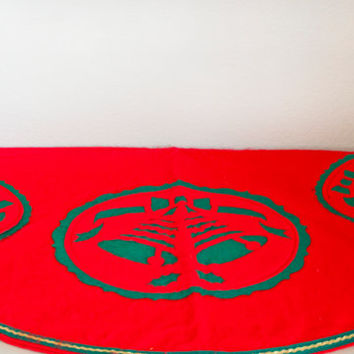 Vintage Red and Green Bell Felt Christmas Tree Skirt, Handmade Kitsch Retro Holiday Decor