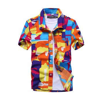 Men Casual Loose Print Short Sleeve Button Down Shirt Summer Beach T-shirt Tops