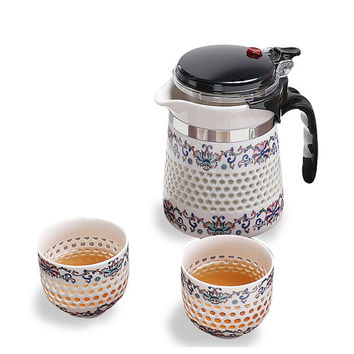 Rice-pattern Porcelain Tea Set One Teapot with Filter and Two Tea Cups Travel Tea Set, Free Shipping
