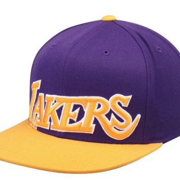 Mitchell & Ness Los Angeles Lakers Gold/Purple Hardwood Classics Cropped XL Logo Snapback Adjustable Hat