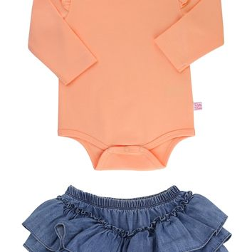 RuffleButts Apricot Bodysuit & Skirted Bloomers Set (Baby Girls) | Nordstrom