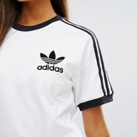 Adidas Fashion Stripe Casual Short Sleeve Tunic Shirt Top Blouse