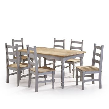 Jay 7-Piece Solid Wood Dining Set with 6 Chairs and 1 Table in Gray Wash