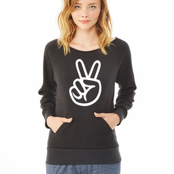 peace sign ladies sweatshirt