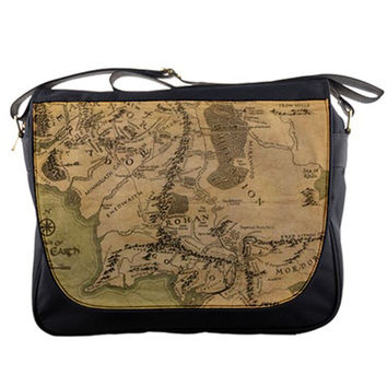 """Map Of Middle Earth Realm Lord Of The Rings 14"""" Messenger Laptop Notebook Tablet Computer School Sling Shoulder Bag Handbag Tote Custom Made"""