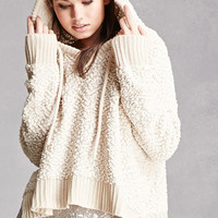 Hooded Popcorn Knit Sweater