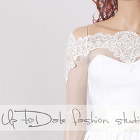 Bridal cover up/Off-Shoulder /French Lace/wedding jacket/Bridal lace bolero/shrug/jacket /bridal lace top