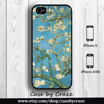 Van Gogh Blossoming Almond Tree iPhone 5 Case iPhone 4S Case Hard Case White Floral Blue Painting Art Designer iPhone 5 Back Cover --000077
