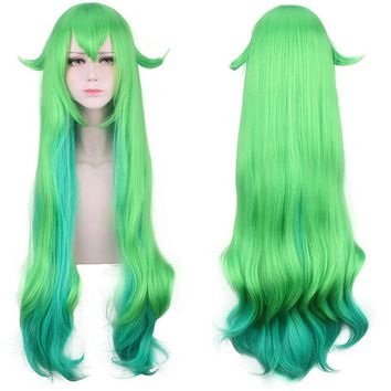 League of Legends LOL Lulu Cosplay Wig for Women 100cm Long Curly Heat Resistant Synthetic Hair Green Blue Mixed Costume Party