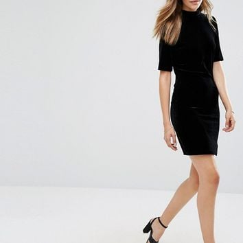 Vila Velvet Bodycon Dress With Cut Out Back at asos.com