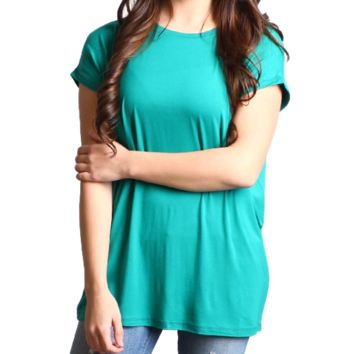 Green Rolled Sleeve Piko Short Sleeve Top