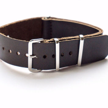 LEATHER NATO STRAP ESPRESSO VINTAGE