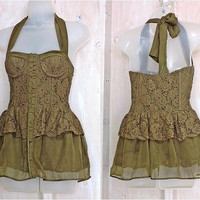 Lace corset halter top / XS / bustier  / Olive Green lace satin  / boho festival halter top / Sexy party top