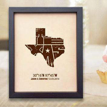 Lik333 Leather Engraved Wedding Third Anniversary austin texas map Longitude Latitude personalized gift place date wedding