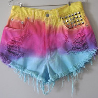 Rainbow Dip Dyed Frayed Shorts With Studs by SheaBoutique on Etsy