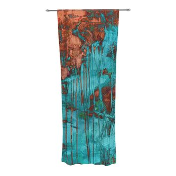 "Iris Lehnhardt ""Rusty Teal"" Paint Teal Decorative Sheer Curtains - Outlet Item"