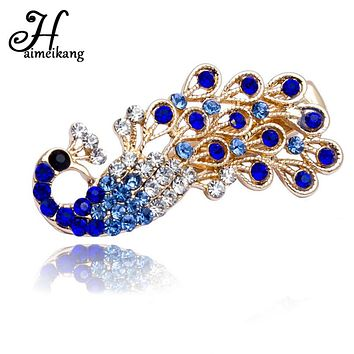 Haimeikang New Fashion Women Girl Colorful Shiny Crystal Rhinestones Peacock Hairpin Hair Clip Barrette Bridal Hair Jewelry