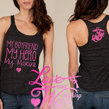 My boyfriend My hero eco racer back tank top by Loveandwarco