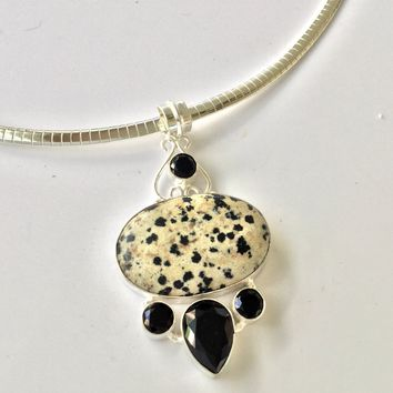 Dalmatia Jasper and black onyx sterling silver pendant
