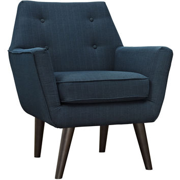 Modway Posit Armchair in Tufted Azure Fabric on Espresso Finish Legs