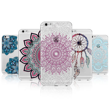 Retro Case For Apple iPhone 7 5 5s SE 6 6s Plus 7Plus 6Plus Floral Paisley Mandala Henna Coque Clear Silicone Soft Cover Fundas