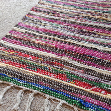 Small Rag Rug, Chindi Area Rugs, Colorful Handwoven Loom Carpet, Bathroom Rug with Tassels, Eco Friendly Vegan Housewares, FREE US Shipping