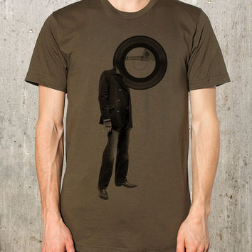 Man with Vinyl Record Head - Men's / Unisex American Apparel  - Screen Printed T-Shirt
