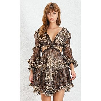 In Her Shoes Brown White Paisley Floral Pattern Chiffon Long Lantern Sleeve V Neck Cut Out Lace Up Back Flare A Line Mini Dress