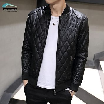 FAVOCENT 2017 autumn and winter fashion men's leather jacket collar Slim washed pu leather jacket coat Quilted Jacket M-3XL
