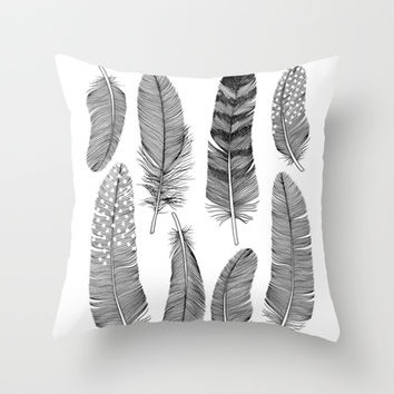 Feathers Throw Pillow by Holly Trill | Society6