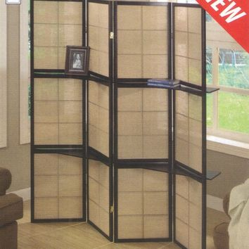 A.M.B. Furniture & Design :: Room Divider Screens :: 4 panel espresso finish wood room divider shoji screen with center shelves