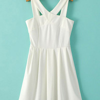 White V-Neckline Sleeveless High Waist Skater Dress