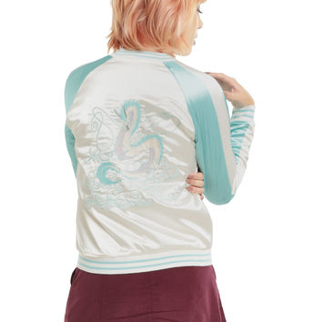 Her Universe Studio Ghibli Spirited Away Haku Girls Satin Souvenir Jacket