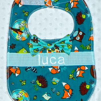Personalized Bib with Matching Bow Tie - Baby Boy Lime Teal and Orange Fox and Forest Friends