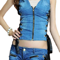 ROMWE Drawstring Zippered Lace Panel Blue Denim Vest