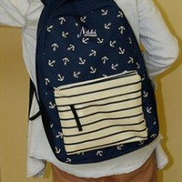 Navy Style Canvas Backpack with Anchor FGX563 from topsales