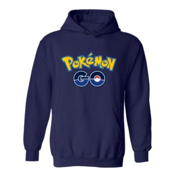 Pokemon Go series of velvet hooded sports sweater Drak blue go