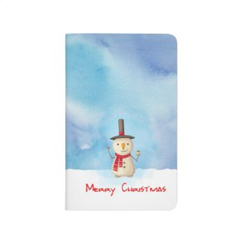 Merry Christmas Snowman Waving And Smiling Journal