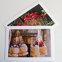 Tuscan Chianti Bottles Photo Greeting Card, Shop in San Gimignano, Italian Street Life, Souvenir from Tuscany, Fine Art Travel Photography,