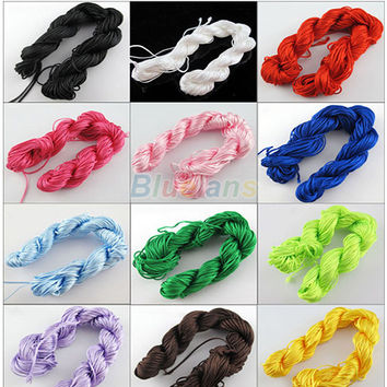 Bluelans 25m Nylon Cord Thread Chinese Knot Macrame Rattail Bracelet Braided String