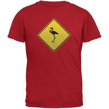 LMFCY8 Flamingo Crossing Sign Red Adult T-Shirt