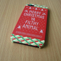 Merry Christmas Ya Filthy Animal iPhone Case Funny Case iPhone 5S iPhone 5 iPhone 5C Samsung Galaxy S4 iPhone plastic case iPhone Hard case