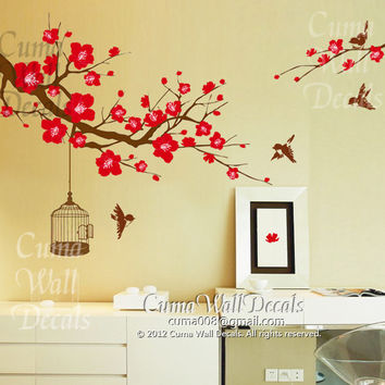 flower wall decal tree wall decals flower vinyl wall decals birdcage wall mural birds nursery wall decal nature- flower birds Z157 cuma