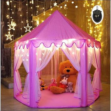 Princess Tent for Girls Indoor and Outdoor Hexagon Play Castle House with 20 Feet Decorative LED Star Lights, 55 x 53 inches, Pink
