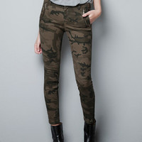 CAMOUFLAGE TROUSERS WITH ZIPS - Trousers - Woman - ZARA Belgium
