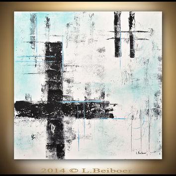 Original abstract painting contemporary art chalky white blue 24 x 24 acrylic modern abstract art by L.Beiboer