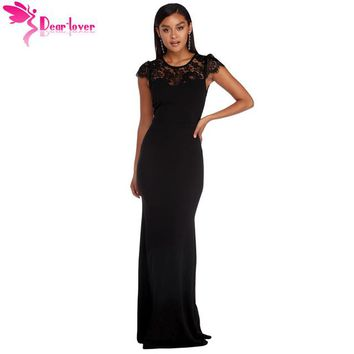 Dear Lover Robe de Soiree Longue Maxi Summer Short Sleeve Black Lace Splice Open Back Party Gown Dress Vestido De Festa LC610209
