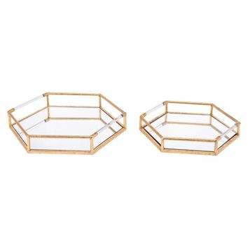 Set Of 2 Trays, In Golden